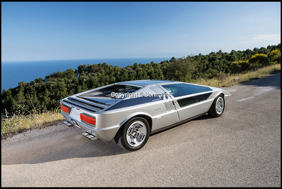 BNPS.co.uk (012902 558833)<br /> Pic: Bonhams/BNPS<br /> <br /> Glass act - The return of the Boomerang.<br /> <br /> Futuristic Maserati from over 40 years ago still looks cutting edge today.<br /> <br /> A one-of-a-kind Maserati supercar is tipped to fetch a whopping £3million when it comes up for auction at Bonhams.<br /> <br /> The Maserati Boomerang, a signature concept car built in the 1970s, looks like something Marty McFly would travel Back To The Future in, with its geometric shapes and straight lines.<br /> <br /> The one-off prototype that was first unveiled at the 1971 Turin Motor Show when it would have been unlike anything that had ever been seen is to be sold by auctioneers Bonhams.