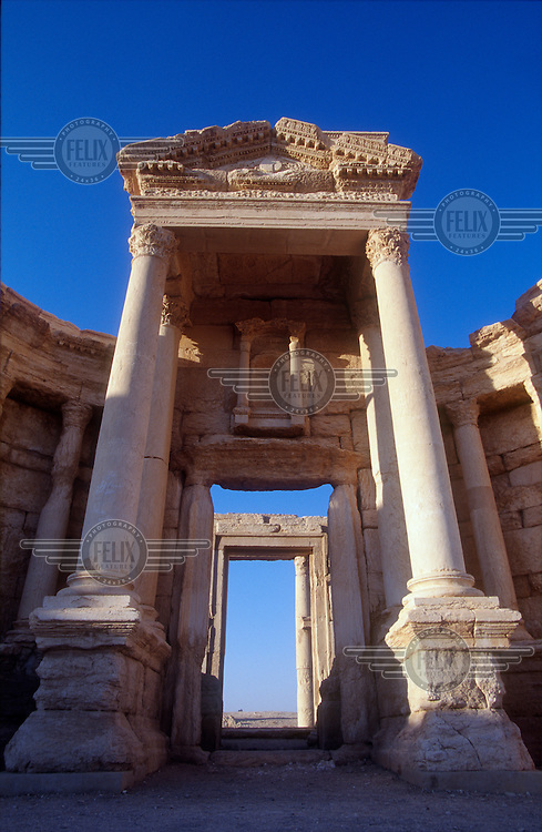 Detail of the restored Roman theatre in the ancient ruins of Palmyra. Palmyra (or Tadmor in Arabic) dates back to the Neolithic period and was first mentioned in the second millennium BC as a caravan stop. It later came under the Seleucid Empire and then under the Roman Empire.<br /> In May 2015 Islamic State (IS) forces fighting the Syrian government of President Assad took control of the modern settlement of Tadmur and the historic site. There are fears that the priceless treasures could fall victim to IS's iconoclastic destruction that has seen museums and ancient sites across Syria and Iraq destroyed.