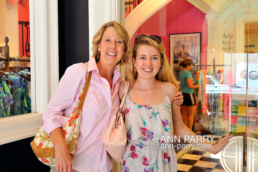 Lilly Pulitzer store entrance - with mother and daughter shoppers at door - on Madison Avenue, Manhattan, NYC, New York, on July 28, 2011
