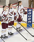 Melissa Bizzari (BC - 4), Erin Kickham (BC - 3), Kristina Brown (BC - 2) - The Boston College Eagles tied the visiting Boston University Terriers 5-5 on Saturday, November 3, 2012, at Kelley Rink in Conte Forum in Chestnut Hill, Massachusetts.