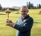 23.09.2014. Gleneagles, Auchterarder, Perthshire, Scotland.  The Ryder Cup.  Paul McGinley European Team Captain with the Ryder Cup, during the Team Europe photo call.