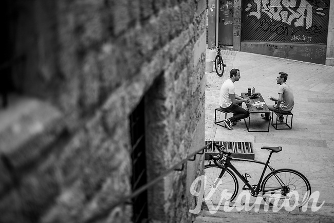The cycling hotspot of Girona (Spain): La Fabrica coffee bar, owned by former professional cyclist Christian Meier and his wife, Amber Meier.<br /> Every day many cyclists of all levels meet up here to go ride or simply enjoy some serious good coffee.