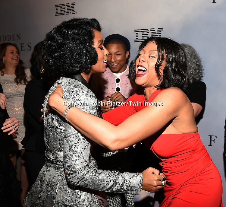 Janelle Monae and Taraji P Henson attend &quot;Hidden Figures&quot; Special Screening on December 10, 2016 at SVA Theatre in New York, New York, USA.<br /> <br /> photo by Robin Platzer/Twin Images<br />  <br /> phone number 212-935-0770