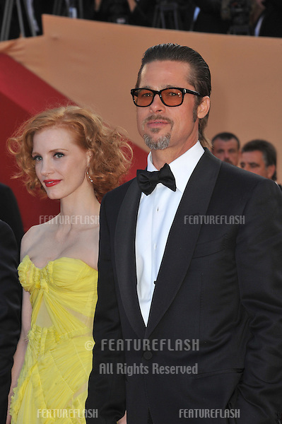 "Brad Pitt & Jessica Chastain at the gala premiere of their new movie ""The Tree of Life"" in competition at the 64th Festival de Cannes..May 16, 2011  Cannes, France.Picture: Paul Smith / Featureflash"