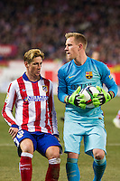 Atletico de Madrid´s Fernando Torres and Barcelona´s Marc-Andre Ter Stegen during 2014-15 Spanish King Cup match between Atletico de Madrid and Barcelona at Vicente Calderon stadium in Madrid, Spain. January 28, 2015. (ALTERPHOTOS/Luis Fernandez) /nortephoto.com<br />