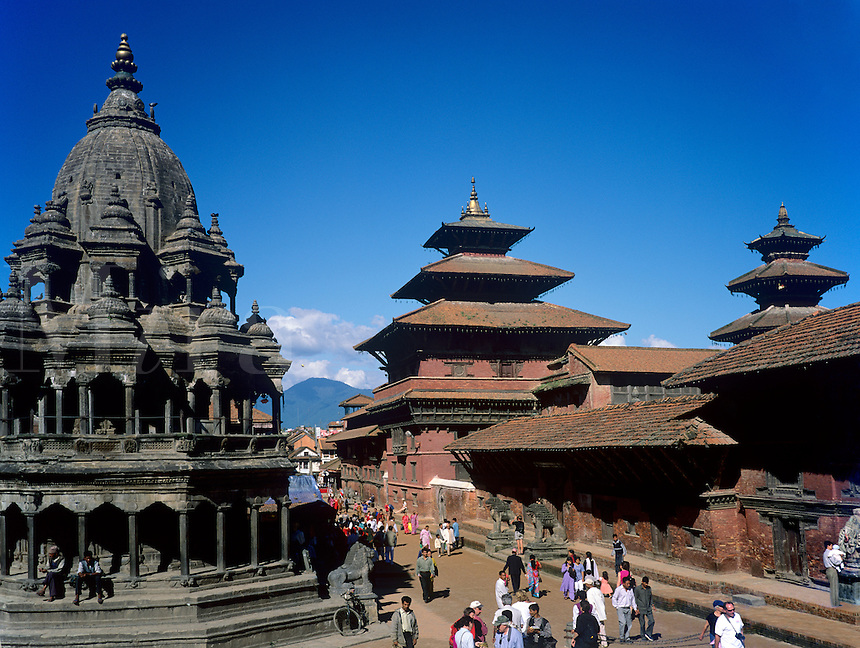 PATTAN'S DURBAR SQUARE is filled with Buddhist/Hindu Temples from the 17th century - KATHMANDU, NEPAL