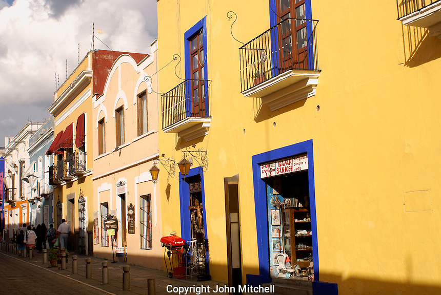 Shops and restored Spanish colonial houses on Callejon de los Sapos in the city of Puebla, Mexico. The historical center of Puebla is a UNESCO World Heritage Site.