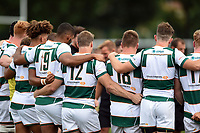The Ealing Trailfinders team huddle together after the match. Pre-season friendly match, between Ealing Trailfinders and the Dragons on August 11, 2018 at the Trailfinders Sports Ground in London, England. Photo by: Patrick Khachfe / Onside Images