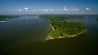 The Amy Weingartner Branigin Peninsula Preserve at Lake Monroe is pictured from the air near Bloomington, Indiana on Sunday, May 27, 2018. The peninsula is part of the Sycamore Land Trust. (Photo by James Brosher)
