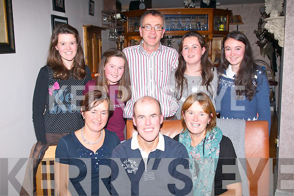Sean MacSeoin, Cork who was visiting his sister in Ballyard, Tralee celebrated his 50th birthday last Thursday night in Bella Bia, Tralee, also seated are Elizebeth Foley (left) and Ann MacSeoin. Back l-r: Mary and Aisling MacSeoin, Lawerance Foley, Aine MacSeoin and Lorna Foley.