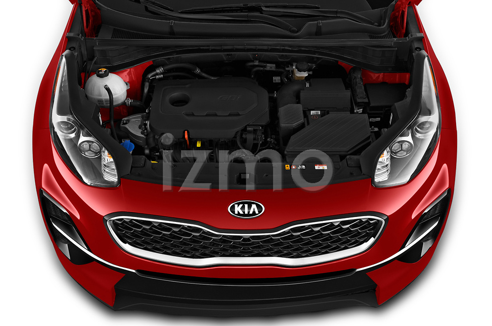 Car stock 2020 KIA Sportage LX 5 Door SUV engine high angle detail view