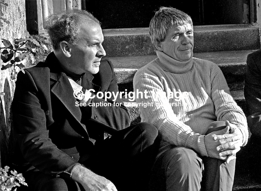 USA-born Father Daniel Berrigan, Roman Catholic, Jesuit priest, anti Vietnam War protestor, during a visit to N Ireland, meets Father Des Wilson, West Belfast priest, involved in the N Ireland Civil Rights movement; 197509260663c; 663/75.<br />