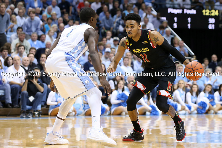 01 December 2015: Maryland's Jared Nickens (11) and North Carolina's Theo Pinson (1). The University of North Carolina Tar Heels hosted the University of Maryland Terrapins at the Dean E. Smith Center in Chapel Hill, North Carolina in a 2015-16 NCAA Division I Men's Basketball game. UNC won the game 89-81.