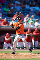 Baltimore Orioles center fielder Austin Hays (21) at bat during a Grapefruit League Spring Training game against the Philadelphia Phillies on February 28, 2019 at Spectrum Field in Clearwater, Florida.  Orioles tied the Phillies 5-5.  (Mike Janes/Four Seam Images)