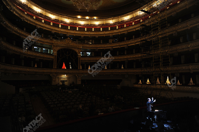 On the stage of the newly refurbished building of the historical Bolshoi theatre, the opera 'Ruslan and Ludmilla' is currently being rehearsed under the direction of Dmitry Chernyakov. The conductor Ralf Sochaczewsky worked during the rehearsal. Moscow, Russia, October 19, 2011
