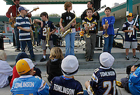 Students at Sliver Gate Elementary School play during a Chargers rally on campus, Friday, January 11 2008.  From left, Specer Gedestad (10), Ben Cowan (9), Amy Law (10), Matteo Camacho (9), Alex Allen (9), Niko Vega (9).