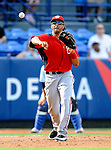 28 February 2011: Washington Nationals' outfielder Michael Morse makes a throw playing third base during a Spring Training game against the New York Mets at Digital Domain Park in Port St. Lucie, Florida. The Nationals defeated the Mets 9-3 in Grapefruit League action. Mandatory Credit: Ed Wolfstein Photo