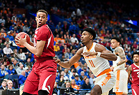 NWA Democrat-Gazette/CHARLIE KAIJO Arkansas Razorbacks forward Daniel Gafford (10) looks to pass during the Southeastern Conference Men's Basketball Tournament semifinals, Saturday, March 10, 2018 at Scottrade Center in St. Louis, Mo. The Tennessee Volunteers knocked off the Arkansas Razorbacks 84-66