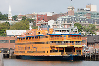 Staten Island Ferry boat Sen. John J. Marchi moored at the St. George Ferry Terminal in Staten Island, New York
