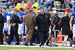 13 October 2012: Kansas head coach Charlie Weis. The Oklahoma State University Cowboys played the University of Kansas Jayhawks at Memorial Stadium in Lawrence, Kansas in a 2012 NCAA Division I Football game.