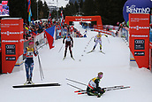 7th January 2018, Val di Fiemme, Fiemme Valley, Italy; FIS Cross Country World Cup, Tour de ski; Ladies 9km F Pursuit; Sadie Bjornsen (USA), Stefanie Boehler (GER), Natalia Nepryaeva (RUS), Anna Haag (SWE)at the finish line
