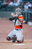 Frederick Keys catcher Jonah Heim (6) warms up his starting pitcher in the bullpen prior to the game against the Winston-Salem Dash at BB&T Ballpark on May 24, 2016 in Winston-Salem, North Carolina.  The Keys defeated the Dash 7-1.  (Brian Westerholt/Four Seam Images)