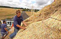 Thatcher Sam Turner and apprentice Howard Empson, working for master thatcher Simon Denney, replacing a 25 year old thatch on a house at Lower Kingston, Ringwood, Hampshire. Wheat straw from Devon is being used which is not as hard wearing as reed but requires less of a base to attach it to.