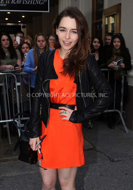 WWW.ACEPIXS.COM....April 14 2013, New York City....Actress Emilia Clarke greeted fans prior to a performance of 'Breakfast at Tiffany's' at the Cort Theatre on April 14 2013 in New York City......By Line: Nancy Rivera/ACE Pictures......ACE Pictures, Inc...tel: 646 769 0430..Email: info@acepixs.com..www.acepixs.com
