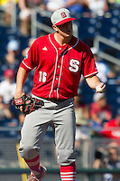 North Carolina State pitcher Carlos Rodon (16) during Game 3 of the 2013 Men's College World Series between the North Carolina State Wolfpack and North Carolina Tar Heels at TD Ameritrade Park on June 16, 2013 in Omaha, Nebraska. The Wolfpack defeated the Tar Heels 8-1. (Andrew Woolley/Four Seam Images)