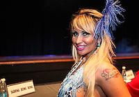 SAO PAULO, SP, 17 JANEIRO 2013 - CARNAVAL SP - CORTE - A modelo Sabrina Boing Boing momentos antes da eleição da Corte do Carnaval de São Paulo 2013, no auditório do Anhembi, zona norte da capital paulista, na noite desta quinta-feira. Sete candidatos a Rei Momo e oito candidatas a Rainha do Carnaval disputam o concurso. Os vencedores representam o carnaval paulista em diversos eventos durante o ano. (FOTO: VANESSA CARVALHO / BRAZIL PHOTO PRESS).