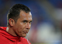 Blas Perez of Panama spits water during the international friendly soccer match between Wales and Panama at Cardiff City Stadium, Cardiff, Wales, UK. Tuesday 14 November 2017.