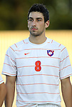 14 September 2012: Clemson's Manolo Sanchez. The Duke University Blue Devils defeated the Clemson University Tigers 2-0 at Koskinen Stadium in Durham, North Carolina in a 2012 NCAA Division I Men's Soccer game.