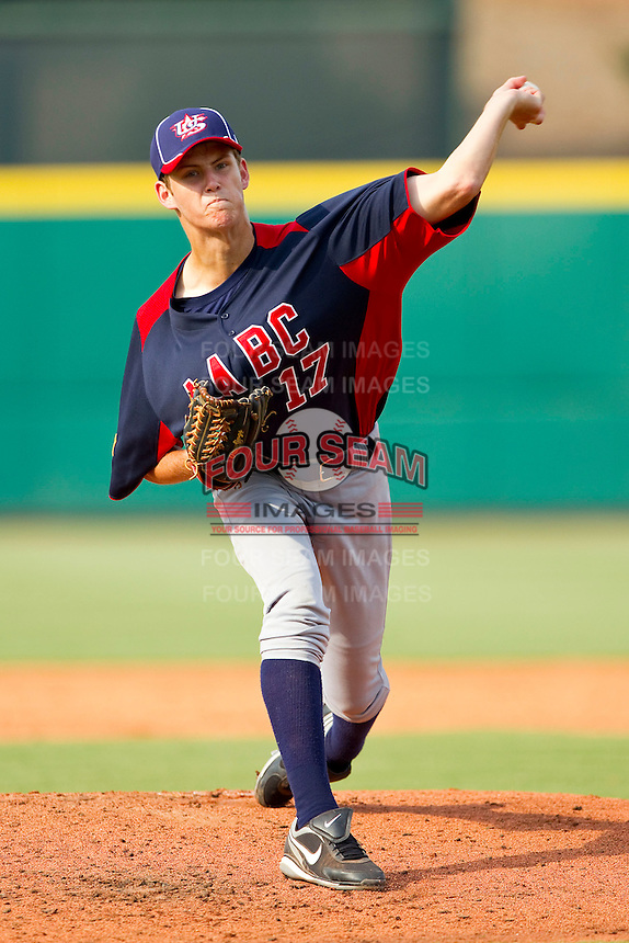 Cole Irvin #17 of AABC in action against tBabe Ruth at the 2011 Tournament of Stars at the USA Baseball National Training Center on June 26, 2011 in Cary, North Carolina.  Babe Ruth defeated AABC 3-2 in the Gold Medal game. (Brian Westerholt/Four Seam Images)