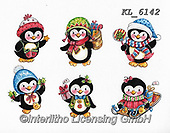Interlitho-Theresa, CHRISTMAS ANIMALS, WEIHNACHTEN TIERE, NAVIDAD ANIMALES, paintings+++++,6 peinguins,KL6142,#xa# ,stickers