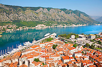 Kotor bay from the fortifications above Kotor town, Montenegro