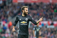 Juan Mata of Man Utd gives a thumb up during the Premier League match between Stoke City and Manchester United at the Britannia Stadium, Stoke-on-Trent, England on 9 September 2017. Photo by Andy Rowland.