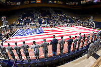 USA flag is pictured on the floor during national anthem before the game between California and Long Beach State at Haas Pavilion in Berkeley, California on November 8th, 2013.  California defeated Long Beach State, 70-51.