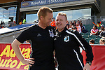 02 April 2016: Minnesota head coach Carl Craig (ENG) (right) greets Carolina assistant coach Greg Shields (SCO) (left) before the game. The Carolina RailHawks hosted Minnesota United FC at WakeMed Stadium in Cary, North Carolina in a 2016 North American Soccer League Spring Season game. Carolina won the game 2-1.