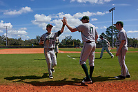 Dartmouth Big Green Trevor Johnson (36) high fives Eric Stott (17) during a game against the Omaha Mavericks on February 23, 2020 at North Charlotte Regional Park in Port Charlotte, Florida.  Dartmouth defeated Omaha 8-1.  (Mike Janes/Four Seam Images)