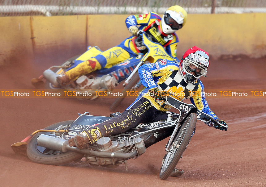 Heat 2: Brandon Freemantle (red) and David Gough (yellow) - Hackney Hawks vs Newport Hornets - National League Speedway at Rye House - 02/07/11 - MANDATORY CREDIT: Rob Newell/TGSPHOTO - Self billing applies where appropriate - 0845 094 6026 - contact@tgsphoto.co.uk - NO UNPAID USE.
