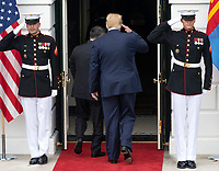 United States President Donald J. Trump salutes the guard as he returns to the White House after participating in the arrival of the President Khaltmaa Battulga of Mongolia at the South Portico of the White House in Washington, DC on Wednesday, July 31, 2019. Photo Credit: Ron Sachs/CNP/AdMedia