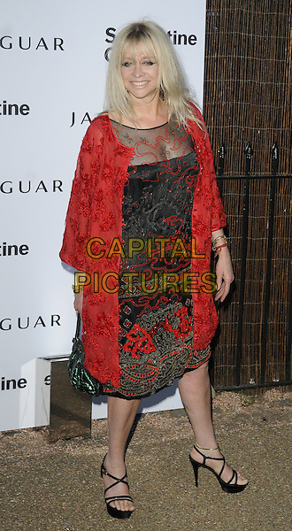JO WOOD .At the Serpentine Gallery Summer Party, Serpentine Gallery, Hyde Park, London, England, UK, July 8th 2010..full length red dress black lace sheer see thru through coat bag strappy platform sandals embroidered  .CAP/CAN.©Can Nguyen/Capital Pictures.