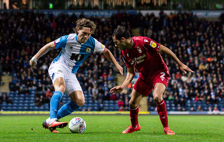 Blackburn Rovers' Sam Gallagher competing with Nottingham Forest's Yuri Ribeiro (right) <br /> <br /> Photographer Andrew Kearns/CameraSport<br /> <br /> The EFL Sky Bet Championship - Blackburn Rovers v Nottingham Forest - Tuesday 1st October 2019  - Ewood Park - Blackburn<br /> <br /> World Copyright © 2019 CameraSport. All rights reserved. 43 Linden Ave. Countesthorpe. Leicester. England. LE8 5PG - Tel: +44 (0) 116 277 4147 - admin@camerasport.com - www.camerasport.com