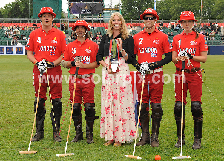 """**ALL ROUND PICTURES FROM SOLARPIX.COM**.**WORLDWIDE SYNDICATION RIGHTS**.Day 1 of The inaugural tournament of """"Polo in the park"""" The World Polo Series London V Moscow at The Hurlingham Club  in Fulham, Central London...This pic:Jodie Kidd & The London team.JOB REF:9170       SSD     DATE:05.06.09.**MUST CREDIT SOLARPIX.COM OR DOUBLE FEE WILL BE CHARGED**.**ONLINE USAGE FEE GBP 50.00 PER PICTURE - NOTIFICATION OF USAGE TO PHOTO @ SOLARPIX.COM**.**CALL SOLARPIX : +34 952 811 768 or LOW RATE FROM UK 0844 617 7637**"""