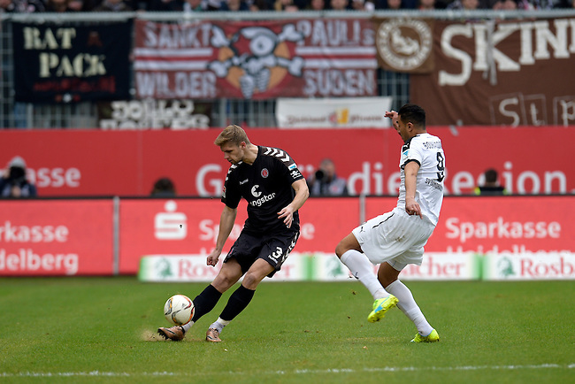 GER - Sandhausen, Germany, March 19: During the 2. Bundesliga soccer match between SV Sandhausen (white) and FC ST. Pauli (grey) on March 19, 2016 at Hardtwaldstadion in Sandhausen, Germany. (Photo by Dirk Markgraf / www.265-images.com) *** Local caption *** Lasse Sobiech #3 of FC St. Pauli, Aziz Bouhaddouz #9 of SV Sandhausen