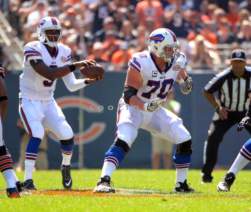 Buffalo Bills Eric Wood (70) during a game against the Chicago Bears on September 7, 2014 at Soldier Field in Chicago, IL. The Bills beat the Bears 23-20.