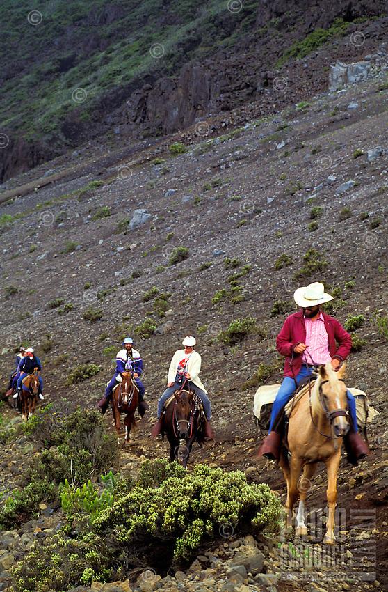 Five horseback riders on trail in Haleakala crater at Halakala national park, Maui