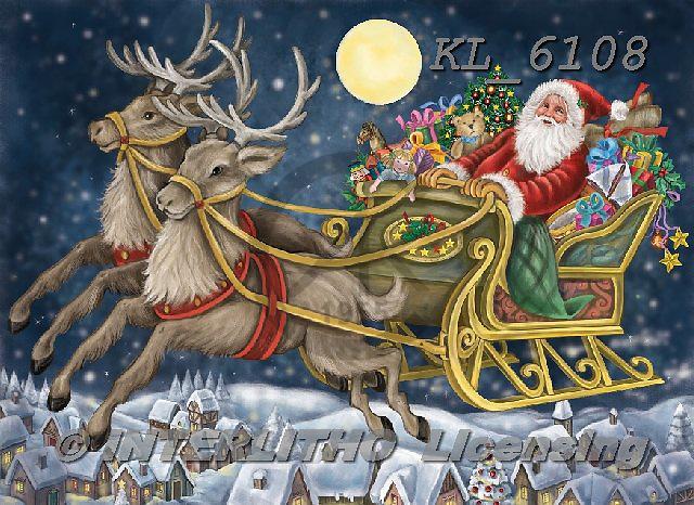 Interlitho-Dani, CHRISTMAS SANTA, SNOWMAN, WEIHNACHTSMÄNNER, SCHNEEMÄNNER, PAPÁ NOEL, MUÑECOS DE NIEVE, paintings+++++,santa, sleigh,KL6108,#x# ,nostalgic