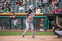 Bryan Petersen (11) of the Colorado Springs Sky Sox at bat against the Salt Lake Bees in Pacific Coast League action at Smith's Ballpark on May 24, 2015 in Salt Lake City, Utah.  (Stephen Smith/Four Seam Images)