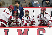 Ty Pelton-Byce (Harvard - 11), Rob Rassey (Harvard - Assistant Coach), Nathan Krusko (Harvard - 13), Devin Tringale (Harvard - 22), Lewis Zerter-Gossage (Harvard - 77) - The Harvard University Crimson defeated the visiting Cornell University Big Red on Saturday, November 5, 2016, at the Bright-Landry Hockey Center in Boston, Massachusetts.